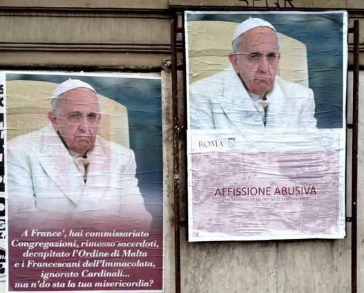 Posters critical of Pope Francis appear around Rome